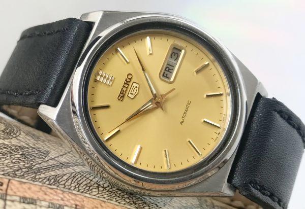 極美品★セイコー5 ヴィンテージ アンティーク 自動巻き ゴールド メンズ腕時計☆裏スケルトン