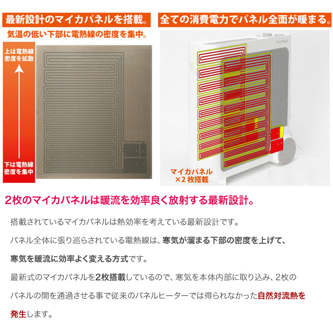 数量4個 ヒーター 省エネ 遠赤外線 ダブル パネルヒーター FALTIMA 暖房機器 10畳まで 電気ヒーター 遠赤外線_画像5