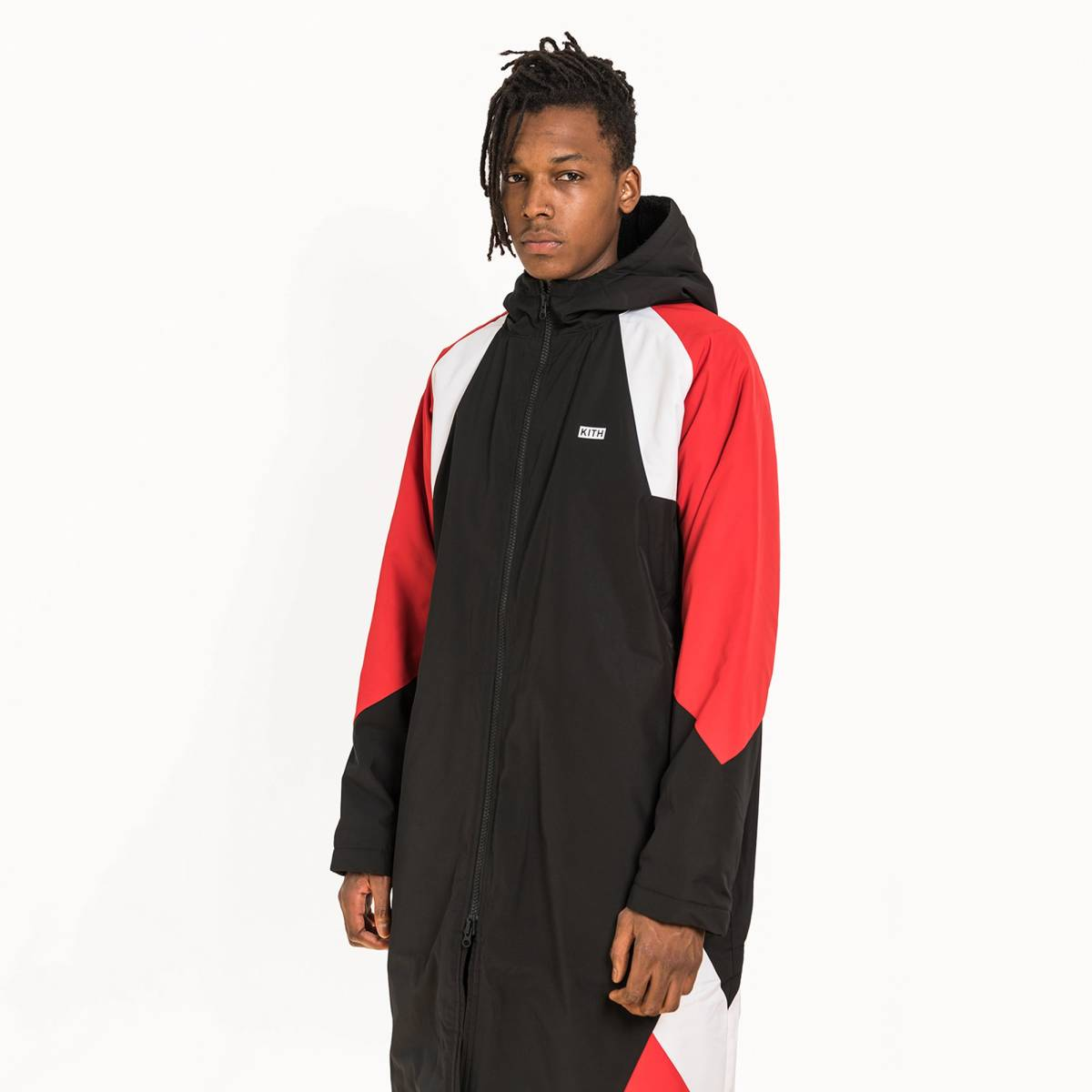 4bbf51606 即日発送/新品未使用 KITH NIKE SHERPA SIDELINE COAT BLACK RED S size ナイキ 正規購入