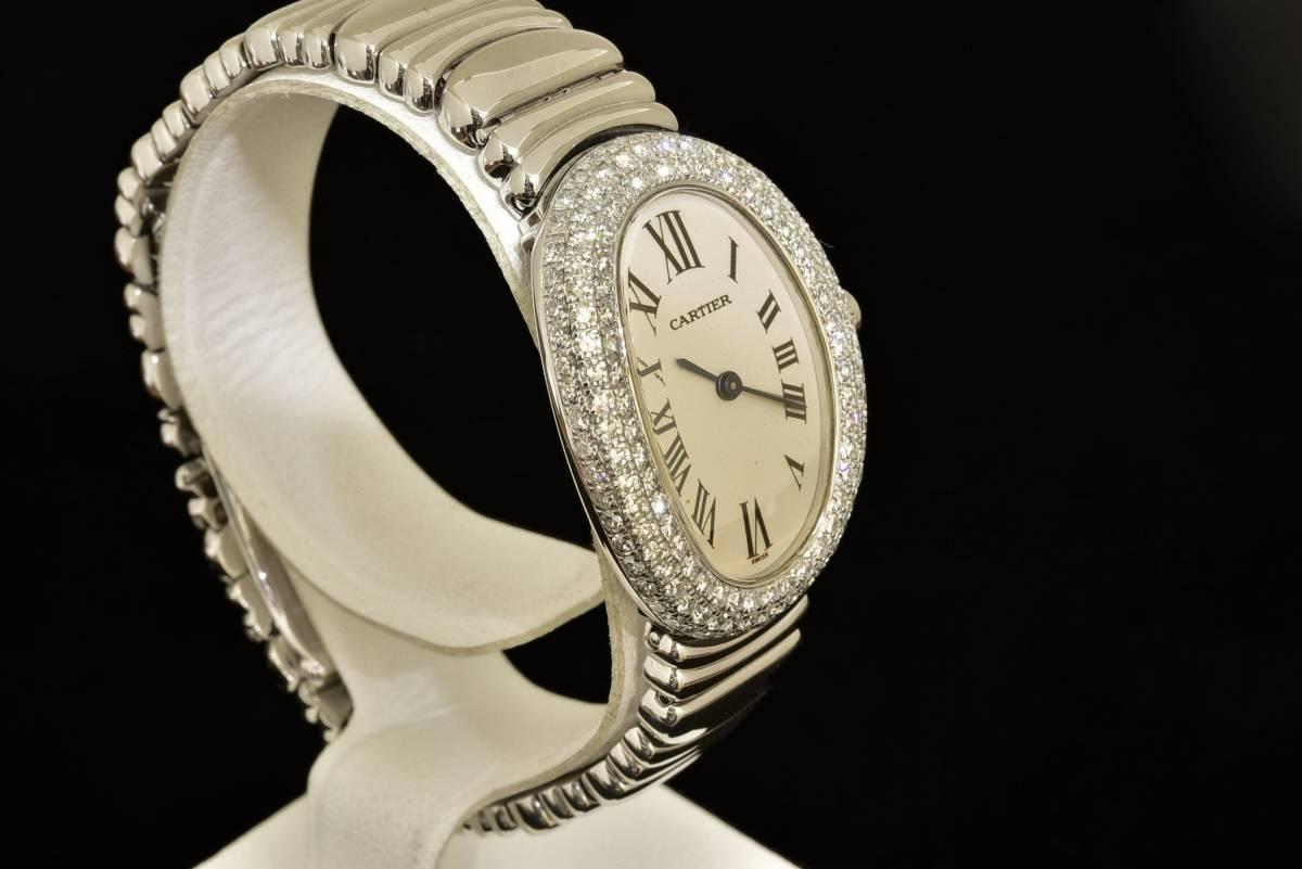 sale retailer 59e95 d119f カルティエ ミニベニュワール ベゼル3列アフターダイヤ リューズダイヤ入り クォーツ レディースウォッチ K18ホワイトゴールド 時計