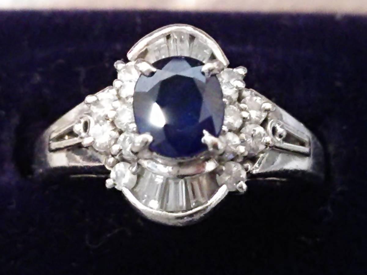 即決 豪華 Pt900 立て爪 大粒 サファイア 0.60ct ダイヤモンド 20石 0.35ct ゴージャス 高級 リング 指輪 11号 極美品 プラチナ 送料無料_画像1