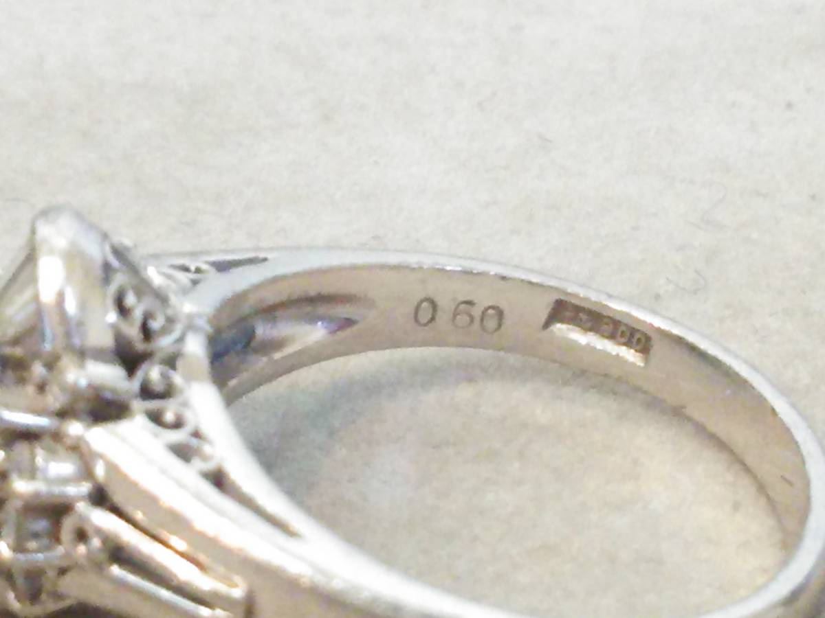 即決 豪華 Pt900 立て爪 大粒 サファイア 0.60ct ダイヤモンド 20石 0.35ct ゴージャス 高級 リング 指輪 11号 極美品 プラチナ 送料無料_画像3