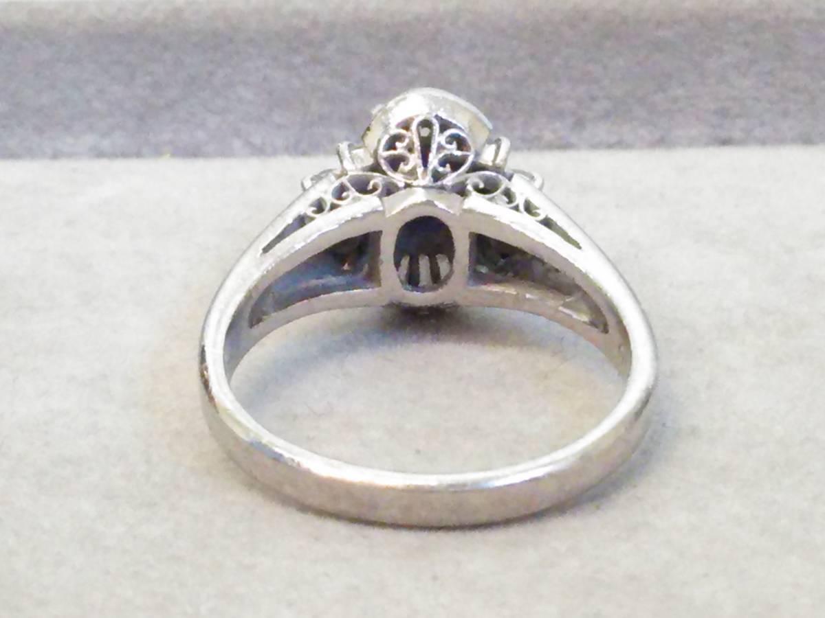 即決 豪華 Pt900 立て爪 大粒 サファイア 0.60ct ダイヤモンド 20石 0.35ct ゴージャス 高級 リング 指輪 11号 極美品 プラチナ 送料無料_画像2