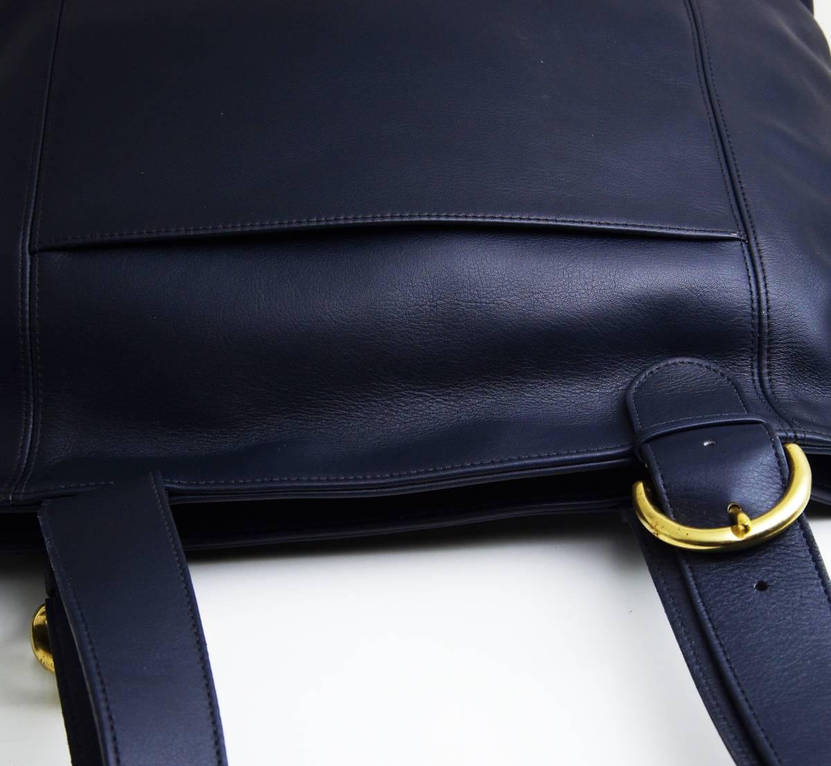 デットストック 極美品 オールドコーチ COACH トートバッグ ビジネスバッグ モスネイビー レザー メンズバッグ 牛革 A4ファイル 定価6万_画像8