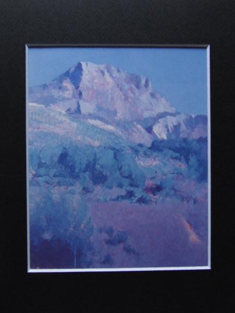 福本章、【サン・ヴィクトワール山】、希少な画集画、新品高級額・額装付、状態良好、送料無料、絵画 油絵 油彩、風景画_画像3