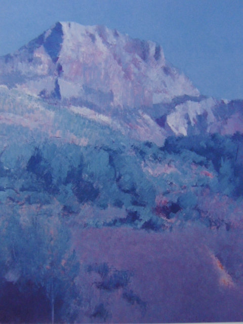 福本章、【サン・ヴィクトワール山】、希少な画集画、新品高級額・額装付、状態良好、送料無料、絵画 油絵 油彩、風景画_画像1