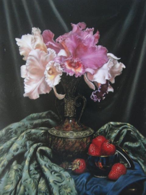 三嶋哲也、【カトレアと苺】、希少な画集画、新品高級額・額装付、状態良好、送料無料、絵画 油絵 油彩、静物画