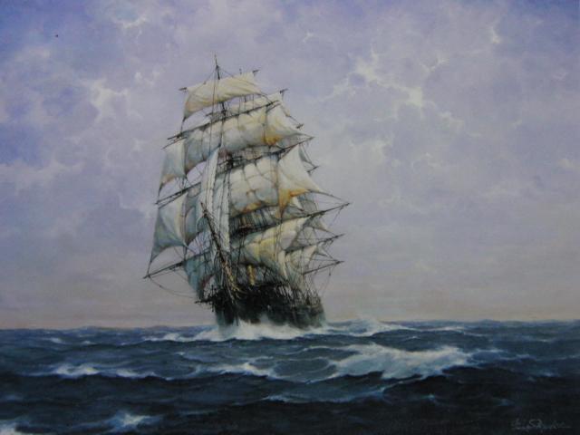 鈴木政輝、【風の旅人】、希少な画集画、新品高級額・額装付、状態良好、送料無料、絵画 油絵 油彩、海 船