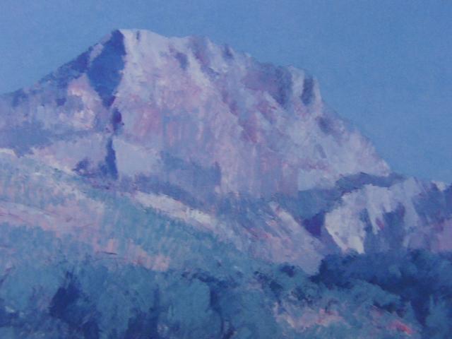福本章、【サン・ヴィクトワール山】、希少な画集画、新品高級額・額装付、状態良好、送料無料、絵画 油絵 油彩、風景画_画像2