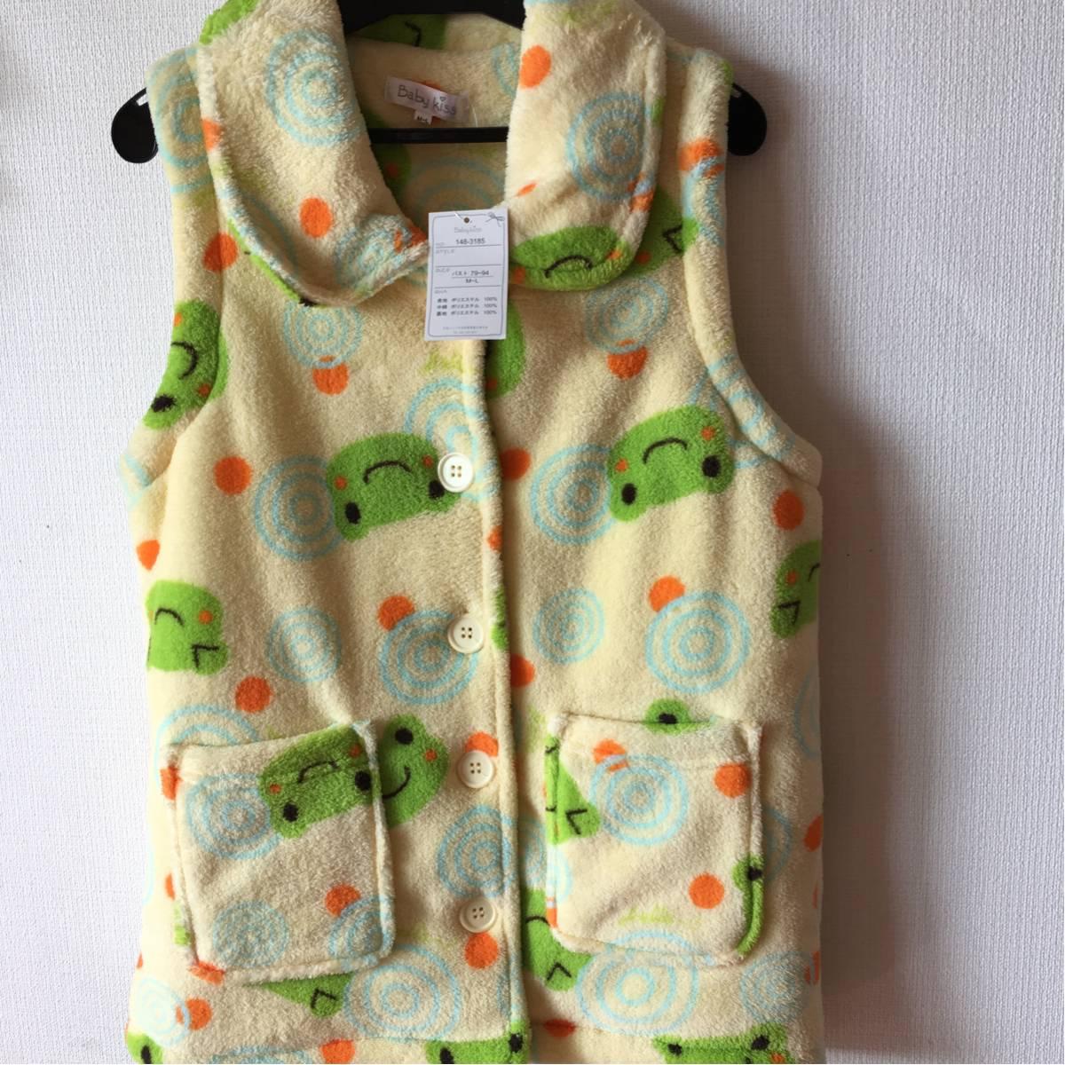 新品 カエル チョッキ レディース 可愛い 羽織 幼稚園先生に M から L レア_画像1