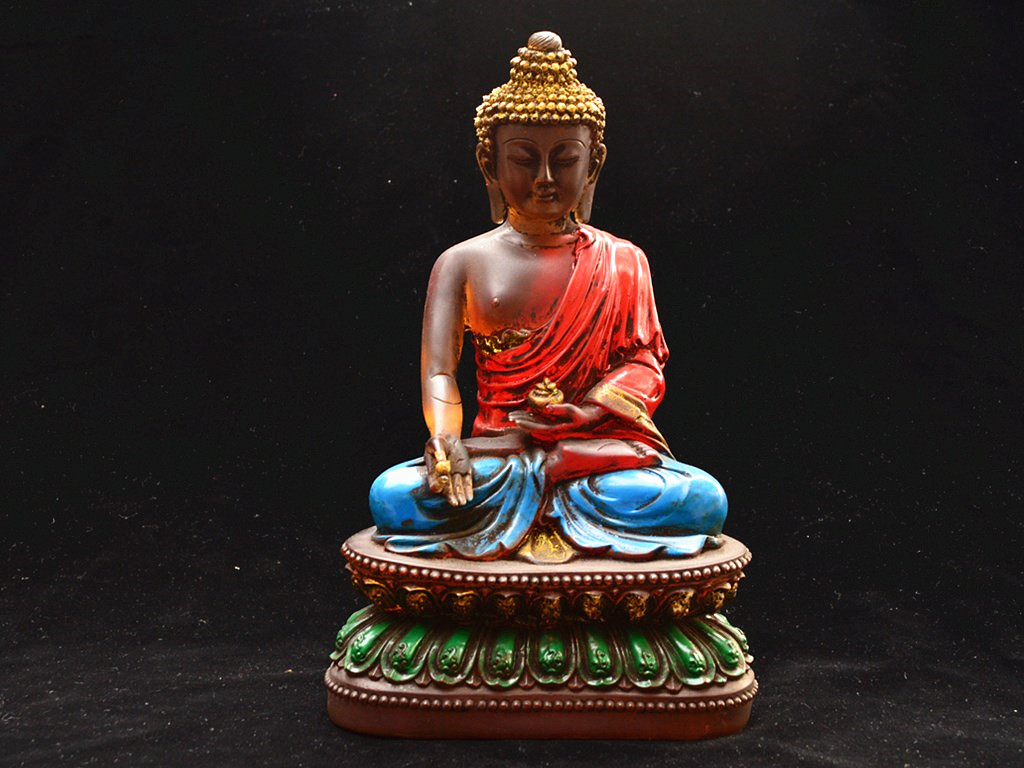 早期收集 琉璃製 彩絵手工【藥師仏】仏像 在銘 時代蔵出