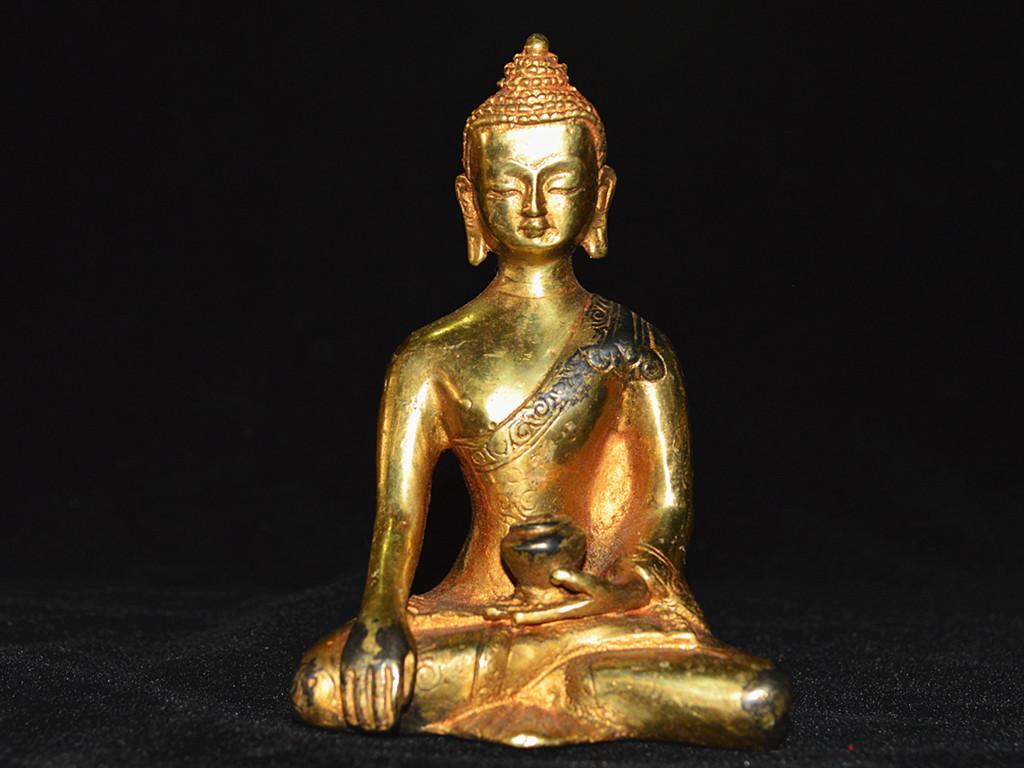 ▲中国古玩▲西蔵好友寄賣 銅製鍍金【釈迦摩尼像】仏像 密宗密教 蔵佳品