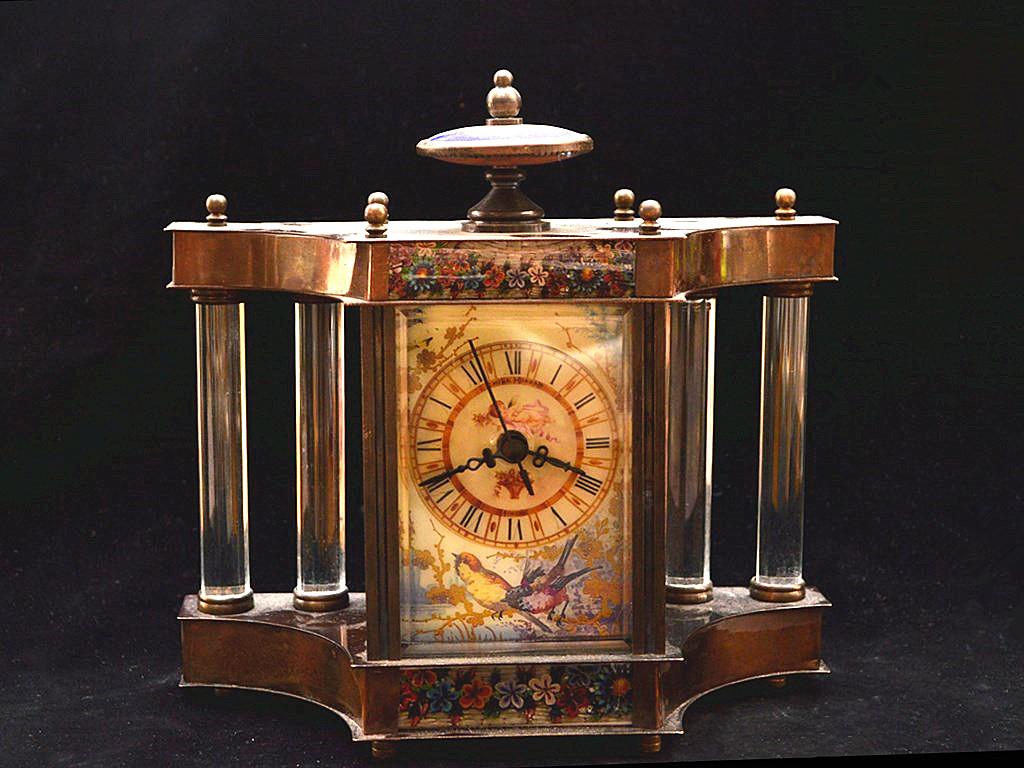 時代物 極上品 銅製【表 置時計】計時器 稀少美品