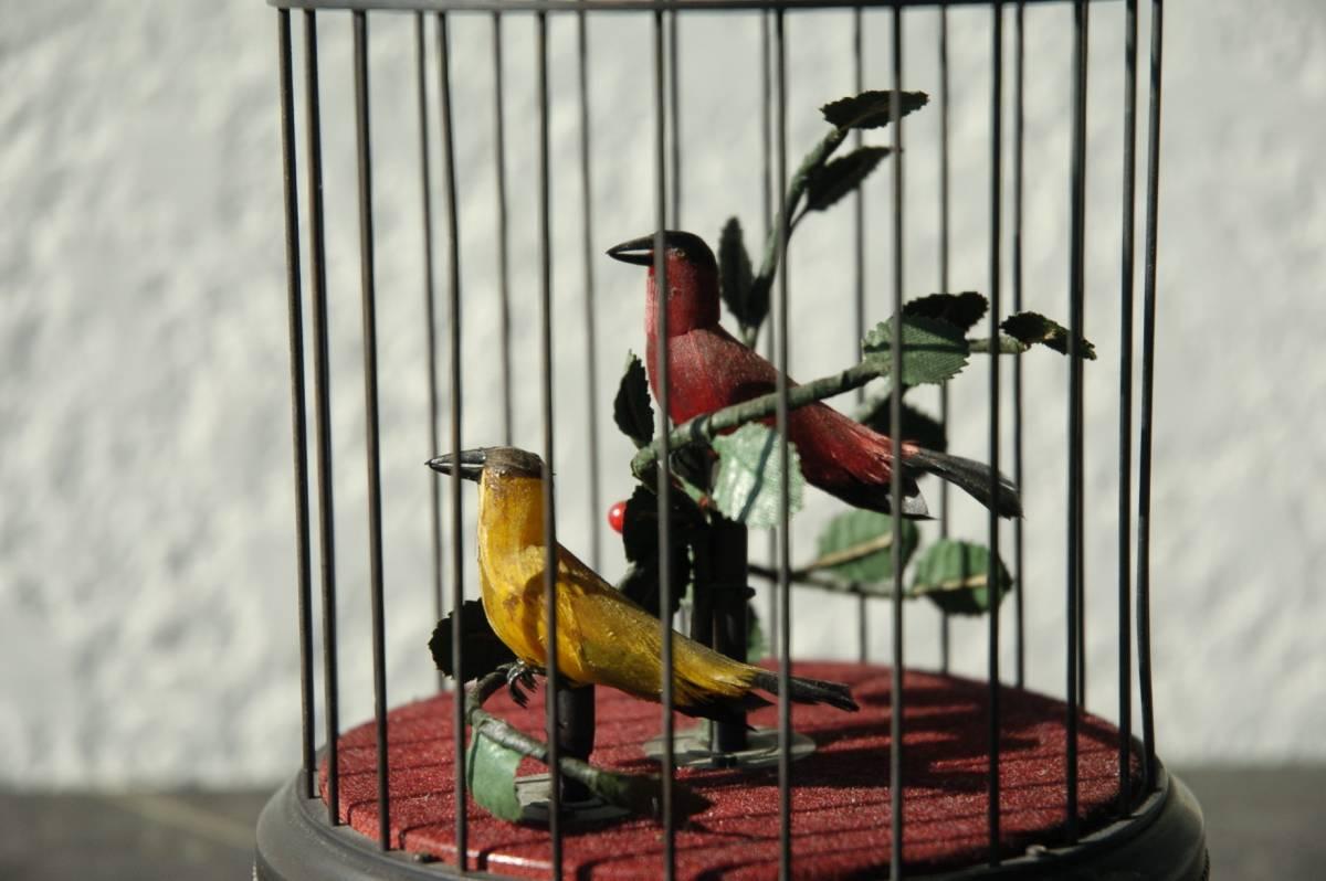 ゼンマイ仕掛け 2羽の小鳥2重奏カラクリ 鳥籠 C273_画像8