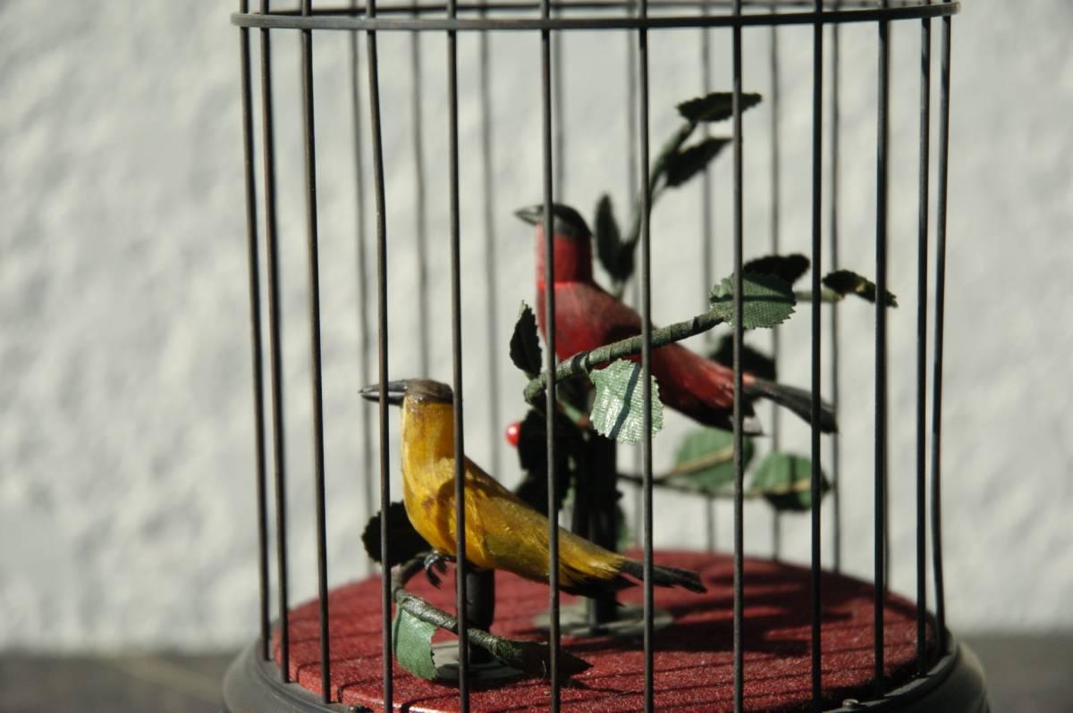 ゼンマイ仕掛け 2羽の小鳥2重奏カラクリ 鳥籠 C273_画像4