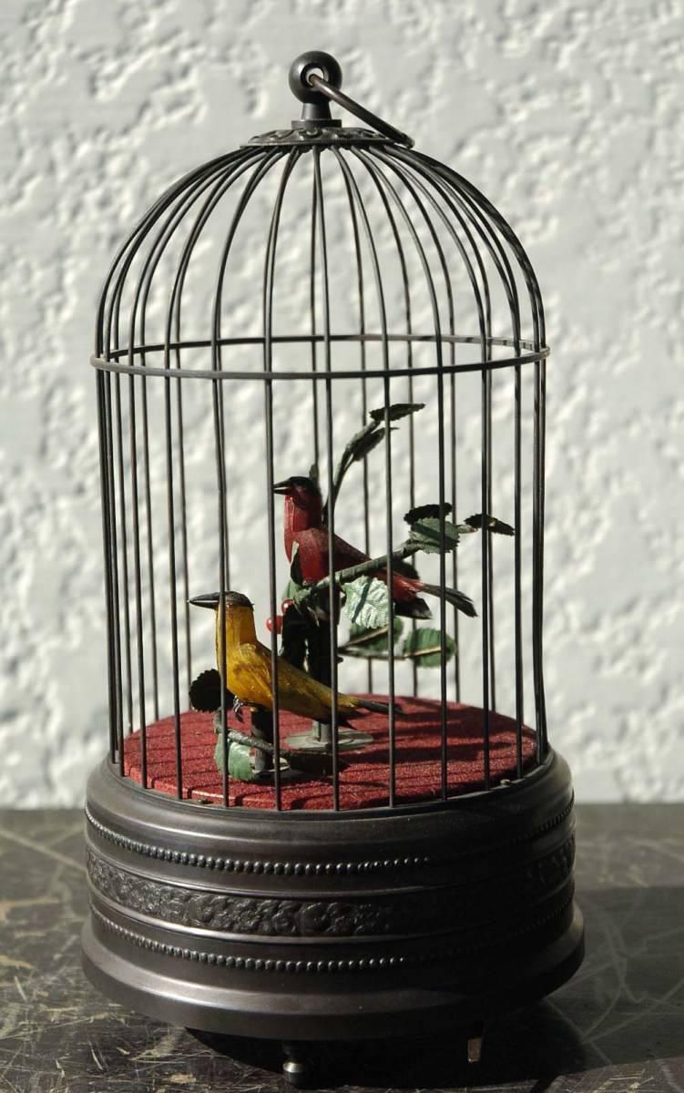 ゼンマイ仕掛け 2羽の小鳥2重奏カラクリ 鳥籠 C273_画像5