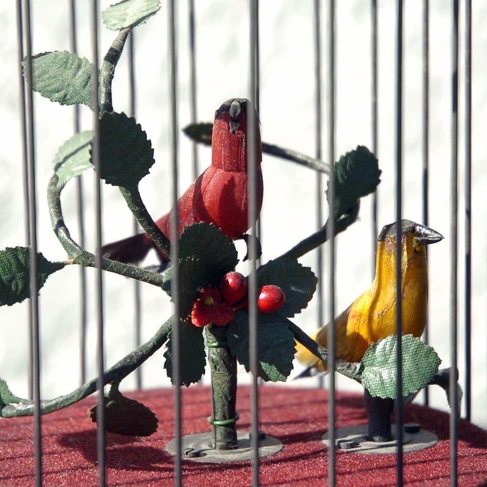 ゼンマイ仕掛け 2羽の小鳥2重奏カラクリ 鳥籠 C273_画像3