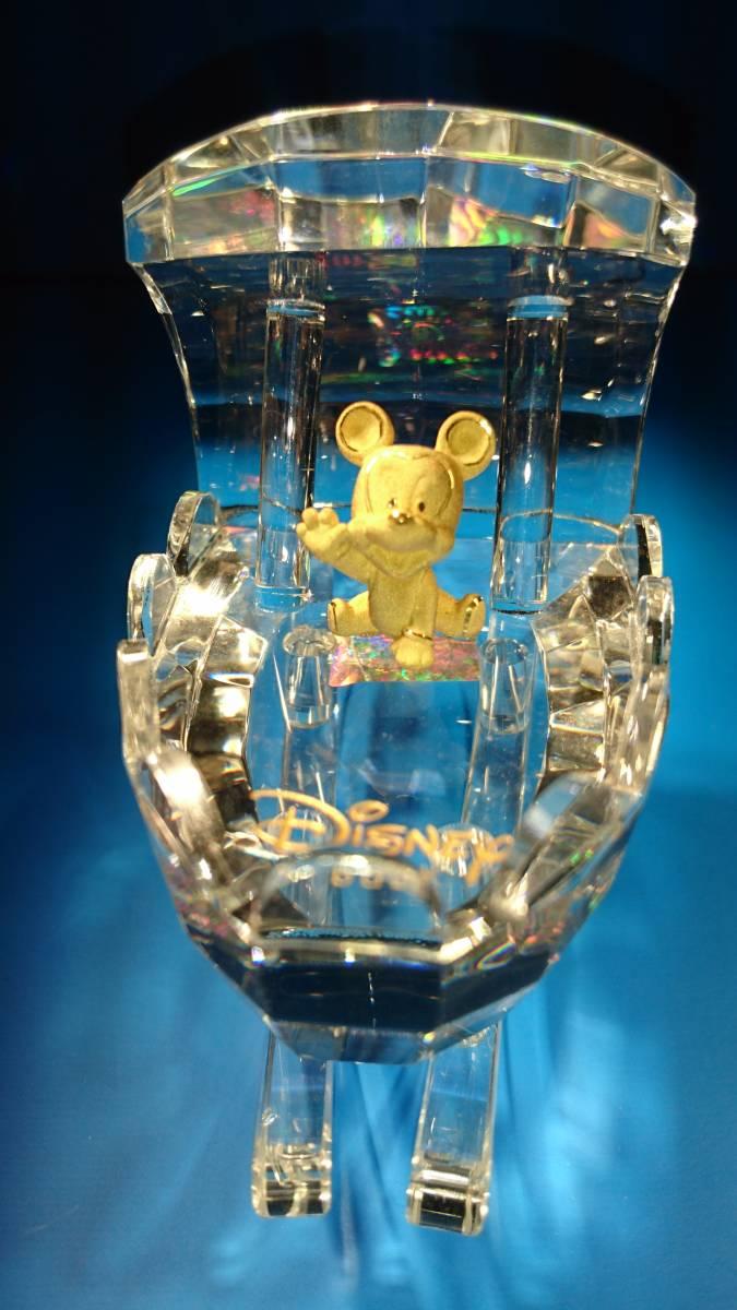 ディズニー 純金製(24K)  ミッキー 人工水晶(クリスタル)船 ボート