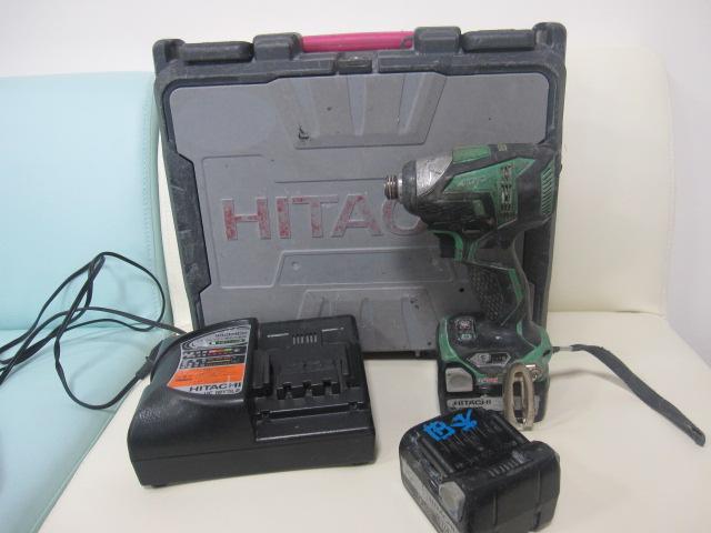 電動工具 HITACHI 日立工機 コードレスインパクトドライバ WH14DDL 中古品 予備バッテリ