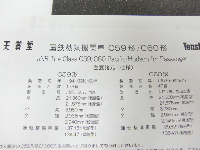 鉄道模型 ③ 天賞堂 HOゲージ C59 蒸気機関車 No.11059 新品・未走行_画像3