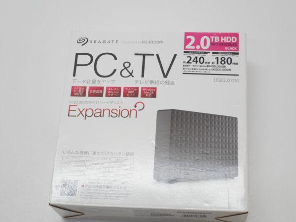 SEAGATE エレコム ELECOM USB3.0対応 外付けハードディスク2TB HDD SGD-NX020UBK