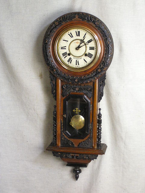 柱時計 8インチペイント文字盤 ひまわり型 剣菱印時計製 古時計 完動品