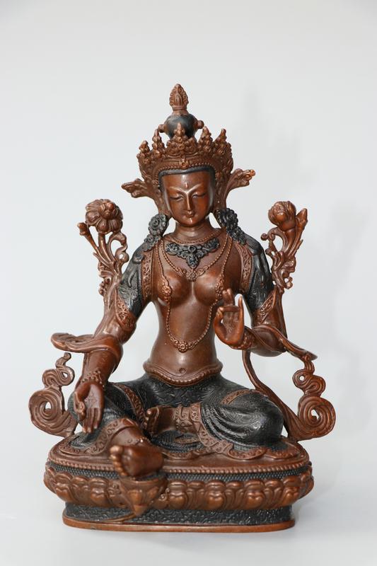 ネパール收集 貴重 紫銅製 度母像 密宗密教 稀少珍品