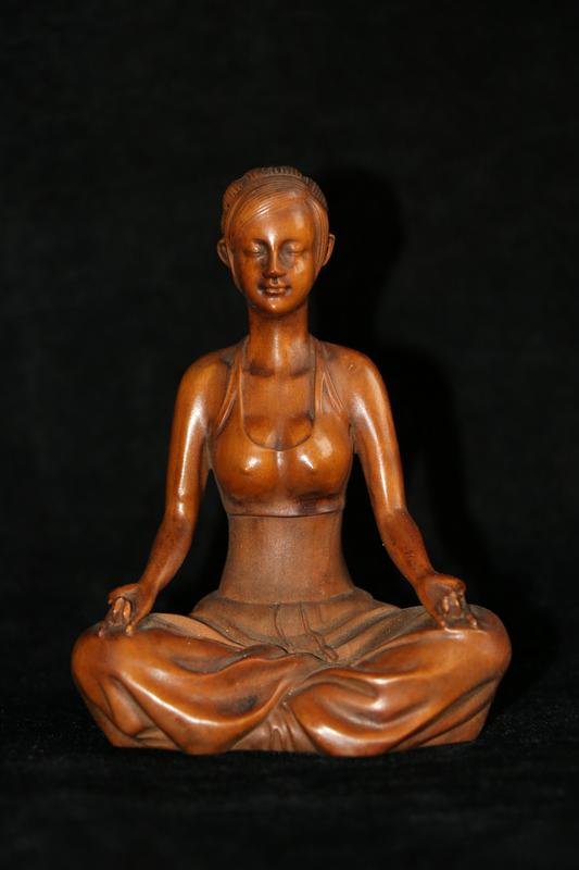 仏教古美術 柘植木手彫 ヨガ少女 美女 美少女 稀少珍品 貴重