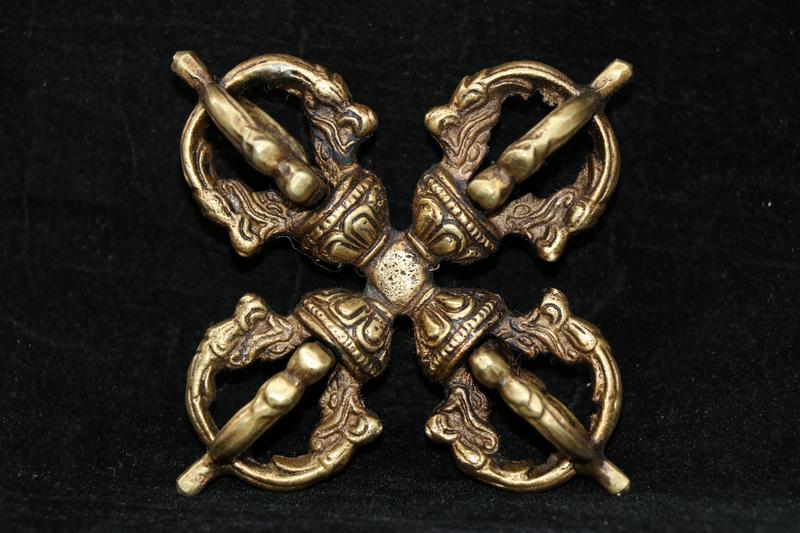 友人西蔵收集 銅製 5股降魔杵 十字金剛杵 法器 逸品仏具
