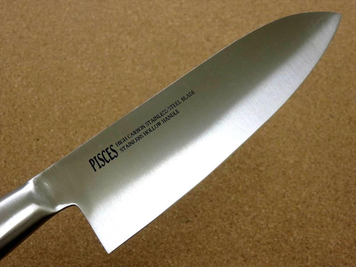 関の刃物 三徳包丁 17cm (170mm) PISCES (パイシーズ) モリブデン ステンレス一体型ハンドル 野菜 魚の処理 肉切り 両刃万能包丁 文化包丁_画像5