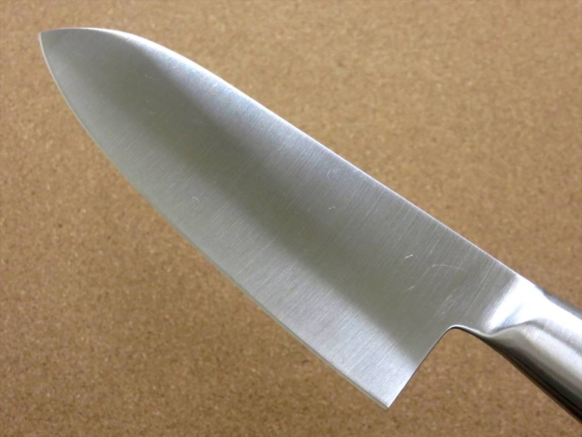 関の刃物 三徳包丁 17cm (170mm) PISCES (パイシーズ) モリブデン ステンレス一体型ハンドル 野菜 魚の処理 肉切り 両刃万能包丁 文化包丁_画像6