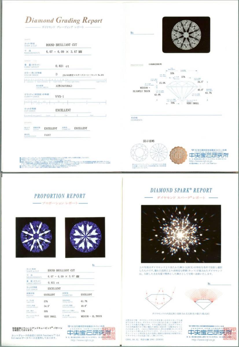 中央宝石研究所 3EX H&C DS 鑑定書付