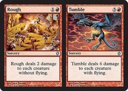 え赤 乱暴+転落 1枚(4枚在庫s 英 良品 C13)/Rough+Tumble(MTG /統率者(2013年版)/Commander 2013/)_画像1