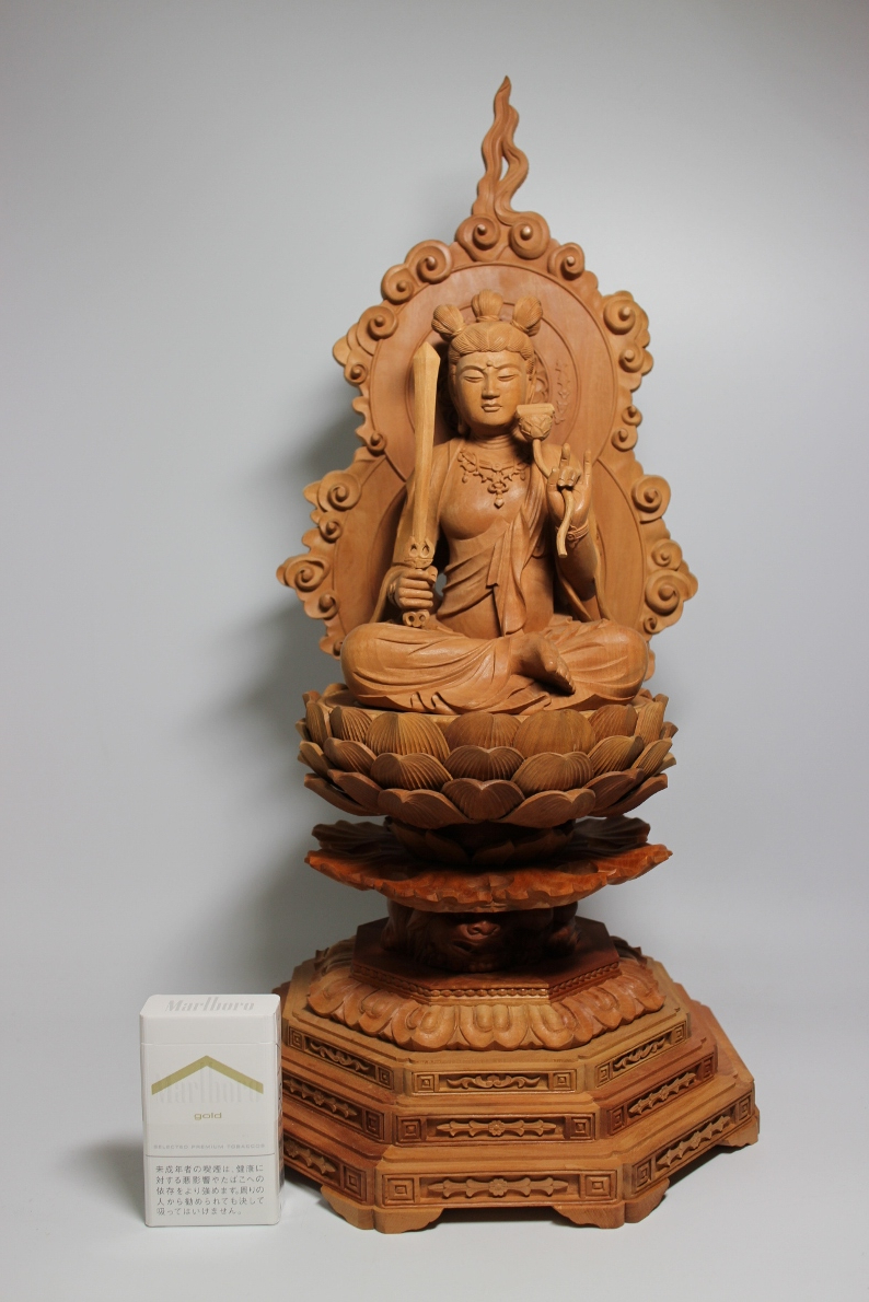 大振 喜雲作  圧巻の美貌 文殊菩薩像  高さ53cm  文殊師利 妙吉祥菩薩  仏像佛