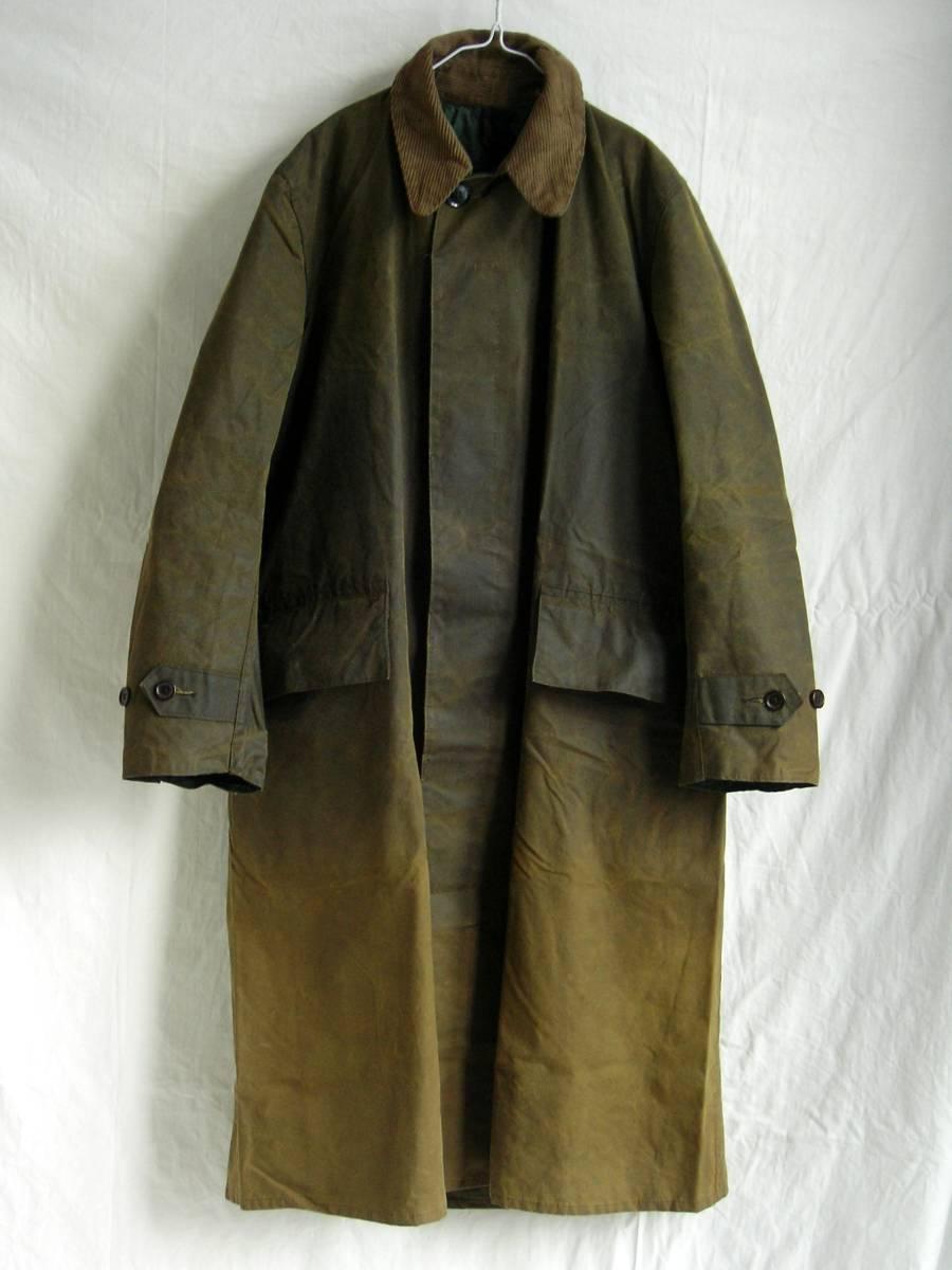 ★値下げ可バブアー希少モデル80s1ワラントオイルクロストレンチコートBarbour英国製レインコートイギリスヴィンテージ1クレストジャケット