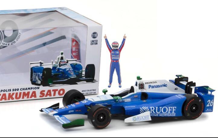 再入荷ラスト1台!米国限定500台・佐藤琢磨選手インディ500優勝フィギュア&ミニカー1/18 GreenLight社製 Indy500 インディアナポリス限定