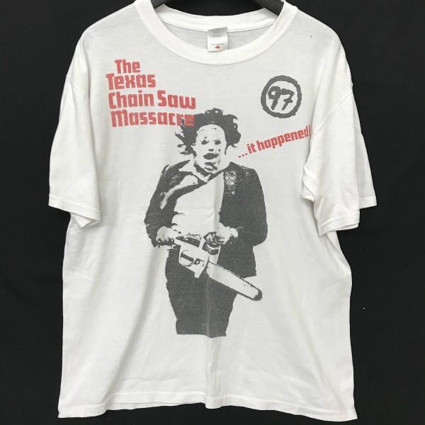 90s ヴィンテージ Texas Chainsaw Massacre Tシャツ(検索 悪魔のいけにえ テキサス・チェーンソー 映画Tシャツ ムービーT shining好きに