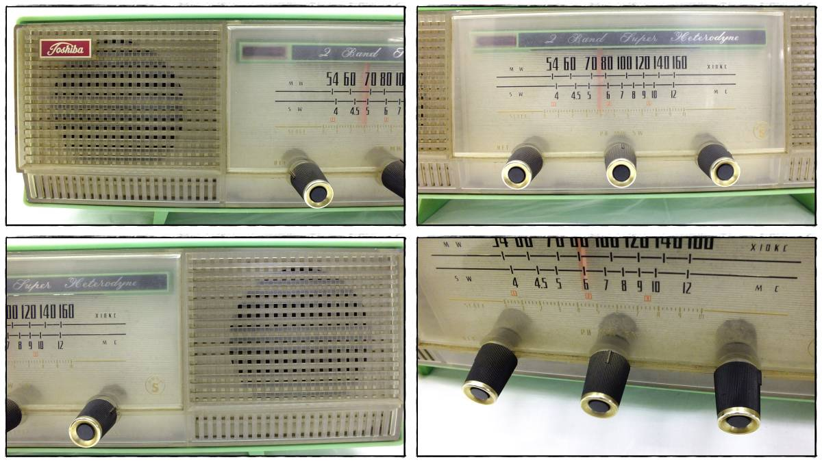 ro3706n000694 TOSHIBA 東芝 ラジオ かなりやS 5YC-608 真空管ラジオ_画像2