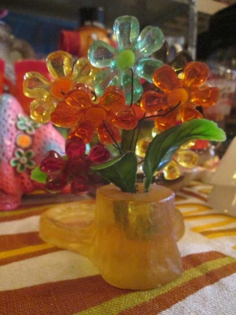 貴重★70's 花の置物 フラワー樹脂 USA Antiqueアンティーク/アメリカ雑貨キノコヒッピーイギリス蚤の市ブロカントレトロボタニカル_画像3