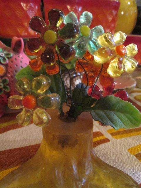 貴重★70's 花の置物 フラワー樹脂 USA Antiqueアンティーク/アメリカ雑貨キノコヒッピーイギリス蚤の市ブロカントレトロボタニカル_画像1
