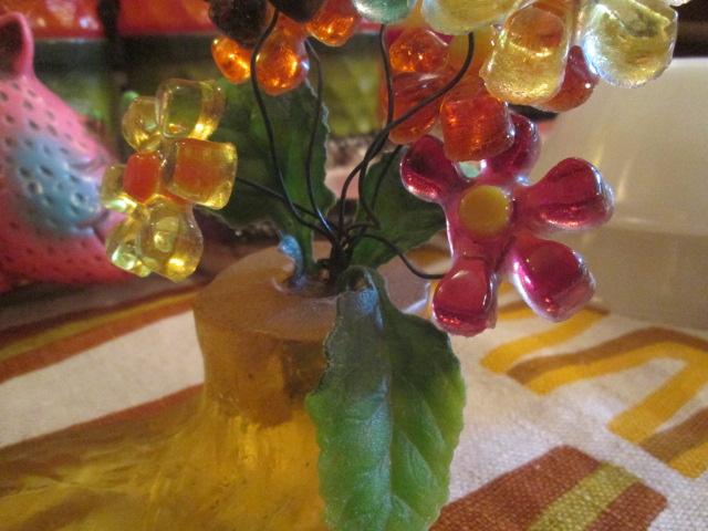 貴重★70's 花の置物 フラワー樹脂 USA Antiqueアンティーク/アメリカ雑貨キノコヒッピーイギリス蚤の市ブロカントレトロボタニカル_画像4