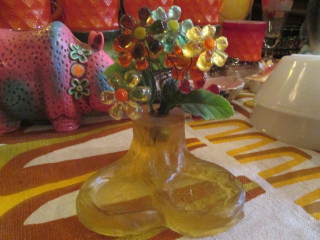貴重★70's 花の置物 フラワー樹脂 USA Antiqueアンティーク/アメリカ雑貨キノコヒッピーイギリス蚤の市ブロカントレトロボタニカル_画像2