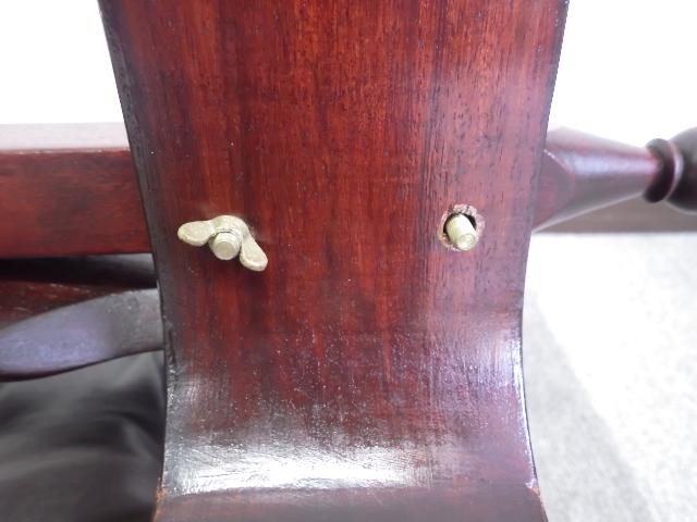 26【S.R】昭和 レトロ アンティーク 木製スツール 革 椅子 象嵌/象眼(ぞうがん) 幅76×奥41×高40㎝ 香川発_画像3