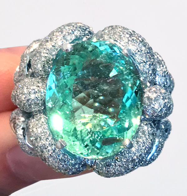 《PARAIBA》K18WG パライバトルマリン ダイヤ リング 圧倒的大粒 パライバ 12.75ct!1.6ct《MASTER PIECE》