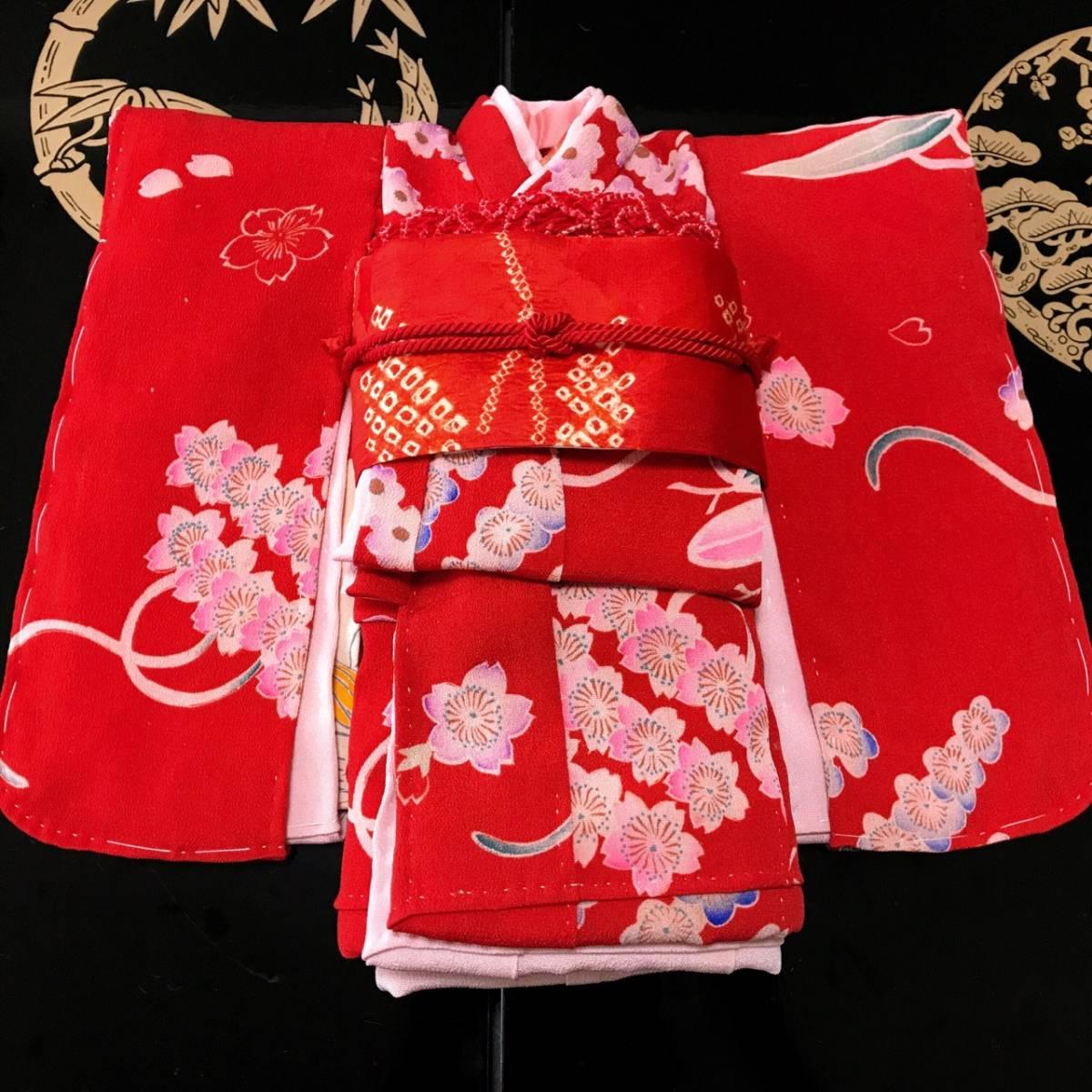 ◆◇ 一点物 市松人形 8号 約32cm 袷 アンティーク 錦紗 ちりめん 着物 長襦袢 帯 セット 人形 ビスク ドール 縮緬 時代 送料無料◇◆