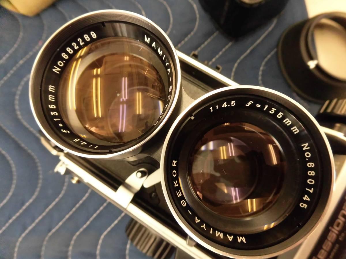 【Mamiya/マミヤ C220 Professional F 1:4.5 f=135mm (No.682289・680745) / MAMIYA-SEKOR S f=80mm 1:2.8 二眼 フィルムカメラ 】 K