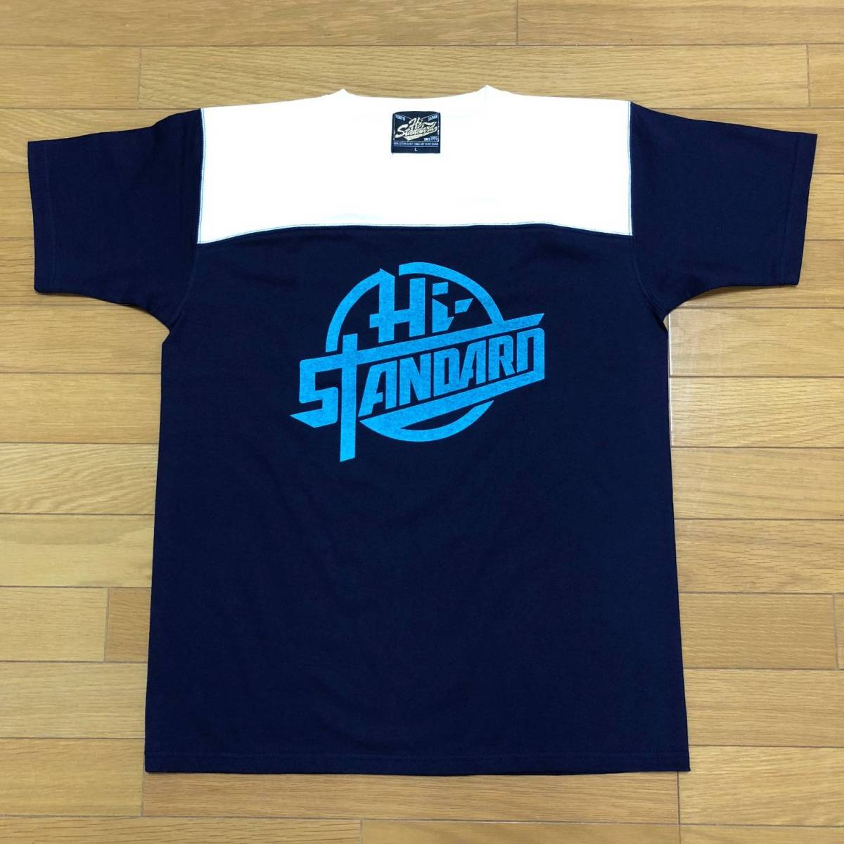 【新品】Hi-STANDARD THE GIFT TOUR CIRCLE FOOTBALL TEE Lサイズ 紺×白×水色 ハイスタ・ハイスタンダード Tシャツ【送料込】 ライブグッズの画像