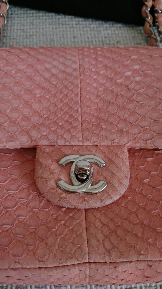 良品希少シャネルパイソンマトラッセ二重蓋チェーンショルダーバッグ正規品2way蛇ピンク_画像8