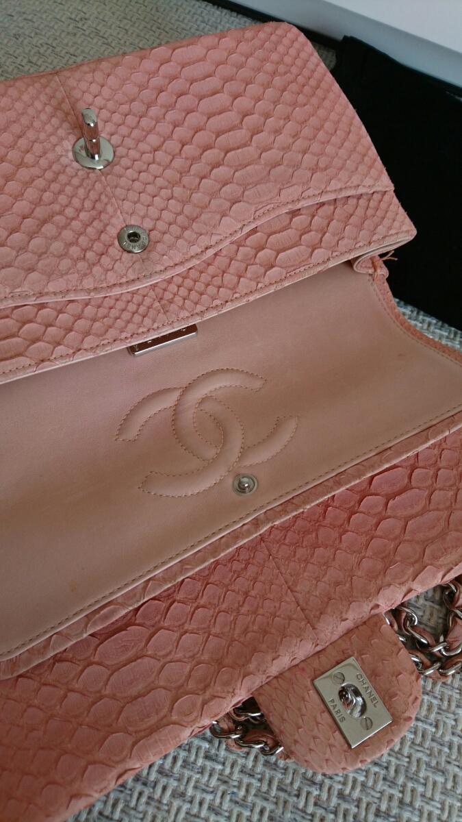 良品希少シャネルパイソンマトラッセ二重蓋チェーンショルダーバッグ正規品2way蛇ピンク_画像4