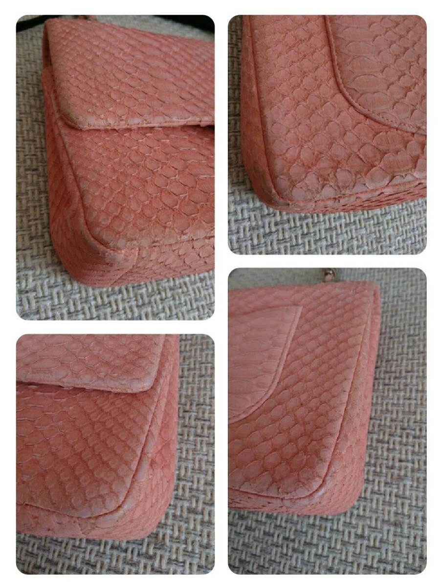 良品希少シャネルパイソンマトラッセ二重蓋チェーンショルダーバッグ正規品2way蛇ピンク_画像10